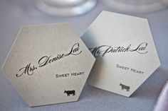 Cute place card idea for bride and groom, wedding photo by Jules Bianchi  | junebugweddings.com