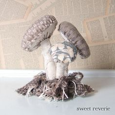 Woodland Vintage Textile Mushroom Cluster with by Sweet Reverie, $30.00
