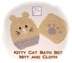 Kitty Cat Children's Bath Set  Mitt and Wash by #ChristieCottage