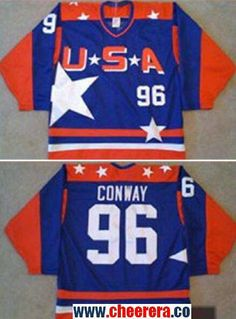 b6a442a15 Men s The Movie The Mighty Ducks  96 Charlie Conway Blue Team USA Stitched  Ice Hockey Jersey