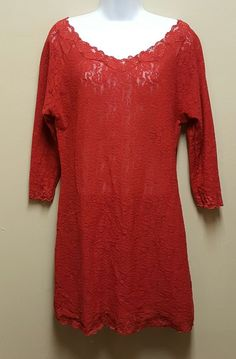 Fashion Bug Sleepwear 18/20W Red Lacy Sheer Sleepshirt Pajamas Valentines Day #FashionBug #Sleepshirt #Holiday