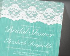 Aqua Rustic Country Barn Wood Bridal Shower Invitation