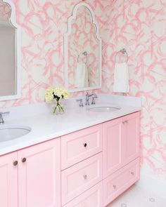 Color Inspiration: Give Me All The Pink! Pink Showers, Laundry Room Remodel, Pink Curtains, Pink Home Decor, Living Room Green, Shabby Chic Pink, Pink Pillows, Pink Houses, Dining Room Walls