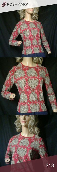 Style & Co Red Boho Print Long Sleeve Stretch Top Style & Co long sleeve top has berry red and tan allover print. Top has round neckline with velvet trim. The white floral vine design has raised texture.   92% Polyester  8% Spandex   Machine wash cold   Top has light wear with no visible stains or tears. There    is some light cracking in the raised floral design. Style & Co Tops Blouses