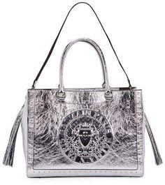 5ce546e0357 Balmain Crinkled Metallic Top Handle Bag  2