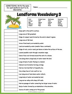 Use this landforms glossary featuring 50 words and their definitions to introduce or reinforce a unit with your students. Landforms Worksheet, Geography Worksheets, Geography Activities, Teaching Geography, Science Worksheets, Vocabulary Worksheets, School Worksheets, Kindergarten Social Studies, 6th Grade Social Studies