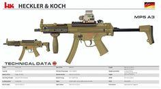 Heckler & Koch - MP5 A3 Military Weapons, Weapons Guns, Airsoft Guns, Guns And Ammo, Revolver, Heckler & Koch, Battle Rifle, Submachine Gun, Custom Guns