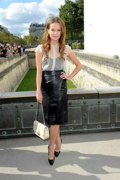 The sheer blouse with a solid black cami + leather wrap skirt. All I need is the blouse! alicia-vikander