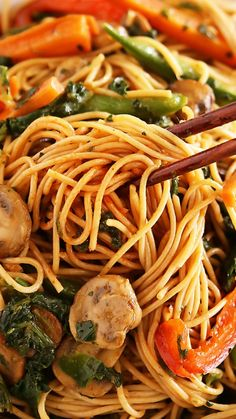 Easy Vegetable Lo Mein ~ Just as good as your favorite takeout noodles, but healthier!
