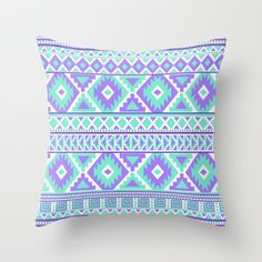 Tribal Art Creation Purple and Mint by Tjc555 $20.00 #pillows #homedecor