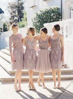 Knee-Length Lilac  Bridesmaid Dresses, Modest Lace Bridesmaid Dresses, Mismatched Bridesmaid Dresses