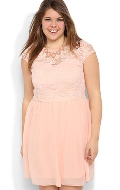 0faafd3e23a Plus Size Daisy Lace A-Line Dress with Cap Sleeves and Illusion Back