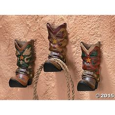 3 Cowboy Boots Western Coat Towel Wall Hooks Home Decor | shopswell
