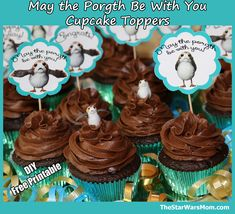 Porg Party Printables - Cupcake Toppers for Birthday Parties, Graduation Parties, Baby Showers, or Star Wars Day (May the Be With You). Cupcake Toppers Free, Cupcake Cakes, Cupcakes, Star Wars Cake, Star Wars Party, Birthday Crafts, Birthday Parties, Party Printables, Baby Shower
