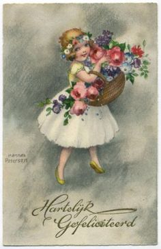 Post-Card-Cute-Blonde-Girl-With-Basket-Of-Flowers