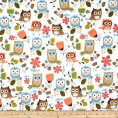 Owl Design Fabric | Timeless Treasures Flannel Owls White - Discount Designer Fabric ...
