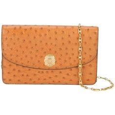 00d1f61d55 Preowned Celine Rare Vintage Cognac Ostrich 2 In 1 Evening Clutch Chain  Shoulder Flap Bag