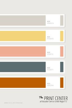 Use these colors to make your project stand out! Bring your design ideas and print jobs to us: The Print Center at ESC Region 12 in Waco, Texas. Hex Color Palette, Colour Schemes, Pantone Colour Palettes, Pantone Color, Colour Board, Color Stories, Color Swatches, Color Theory, Color Inspiration