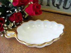 Vintage Milk Glass White and Gold Tone Trim Leaf by tithriftstore