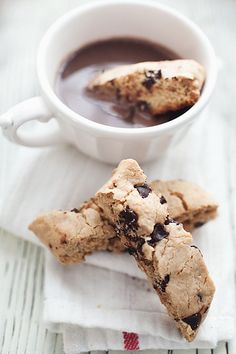 chocolate Biscotti and coffee