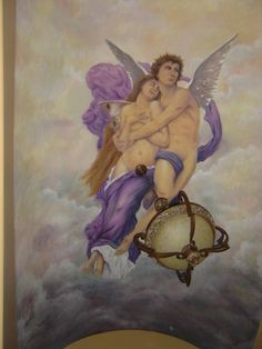 """Hand painted reproduction mural of William Bouguereau's """"the rapture of psyche.""""  Painted with acrylic paints over charcoal drawing on canvas, then mounted onto barrel ceiling in private residence.   #mural #murals #muralart #muralsrtist #painting #creativeladartworks #acrylic #freehand #handpainted #cupid #bouguereau #canvas"""