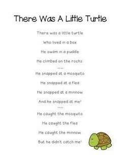 There Was A Little Turtle Who Lived In A Box Poem for poetry units, poetry journals, sight word practice, and as a lyrics reference in the classroom and at home!This Poem Is Included In My Book Of Printable Children's Songs and Poems!Use This Poem: Preschool Fingerplays, Preschool Music, Songs For Toddlers, Songs For Babies, Songs For Preschoolers, Baby Songs, Turtle Classroom, Preschool Transitions, Kindergarten Poems