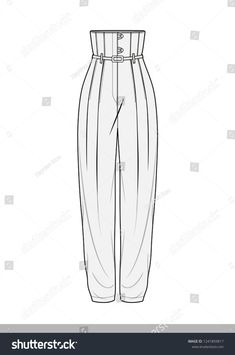 Pants Fashion Flat Technical Drawing Template Stock Vector (Royalty Free) 1241859817 - Real Time - Diet, Exercise, Fitness, Finance You for Healthy articles ideas Dress Design Sketches, Fashion Design Sketchbook, Fashion Design Drawings, Fashion Sketches, Fashion Drawing Dresses, Fashion Illustration Dresses, Drawing Fashion, Look 80s, Croquis Fashion