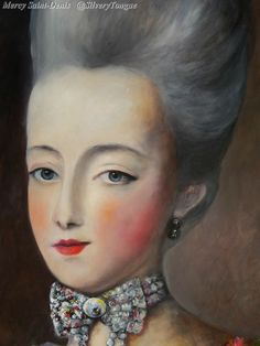 Detail from a portrait of Marie Antoinette.                                                                                                                                                                                 More