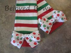 Red White and Green Striped Christmas Leg Warmers by belovedbows, $9.50