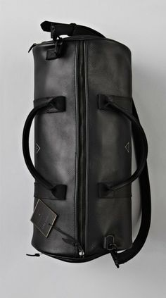 Black Leather Boxing Duffle.