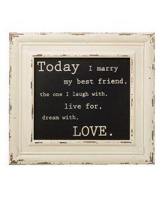 'Today I Marry' Framed Box Sign #zulily #zulilyfinds