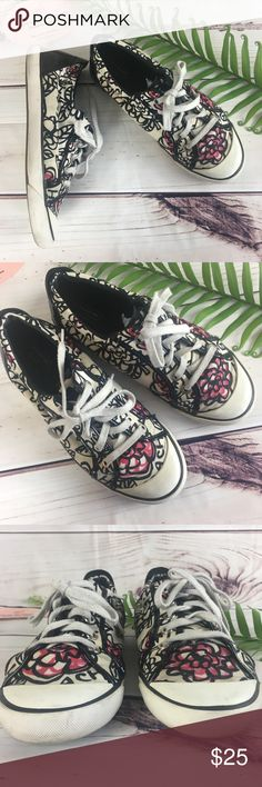 8095bd59f54 Coach Poppy Barrett Canvas Sneakers Good used condition has a small hole on  left seam and