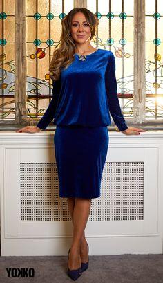 #velvetdress #bluevelvet #yokko #madeinromania #romanianbrand #fashionwelove #cocktaildress #classy #qualityfashion #winterdress #winter20 Blue Velvet, Winter Dresses, Peplum Dress, Classy, Magic, Slim, Elegant, How To Make, Jackets