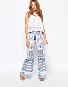 White Sand Palazzo Pant In Mosaic Print With Tassel Detail