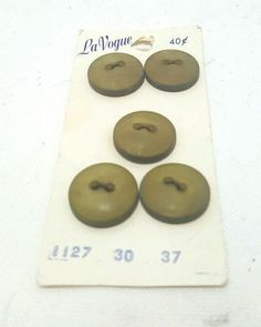 Vintage La Vogue Buttons 5 total on Original Card Olive Green NOS