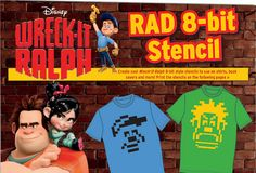 Wreck-It Ralph 8-Bit Stencils for Shirts + Other fun printables!