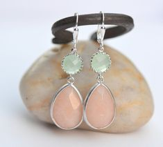 Soft Peach and Mint Bridemaid Earrings in Silver. Dangle Earrings.  Bridesmaid Jewelry. Spring Wedding Jewelry. via Etsy