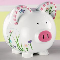 Send Dragonfly Piggy Bank from Personal Creations. Make Money Taking Surveys, Pig Bank, Money Bank, Cute Piggies, School Fundraisers, Crafts For Girls, Pottery Painting, Hand Painted Ceramics, Baby Decor