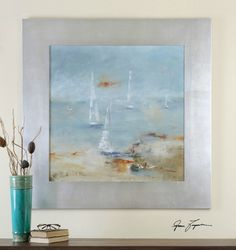 Silver Framed Watercolor Sail Time Art