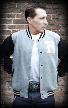 Rumble59 - Male Sweat College Jacke - grau/schwarz #rumble59 #college #rockabilly #50s