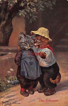 Arthur Thiele dressed cats under tree