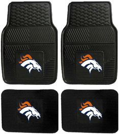 Denver Broncos Car Floor Mats Heavy Duty 4-Piece Vinyl - Front and Rear