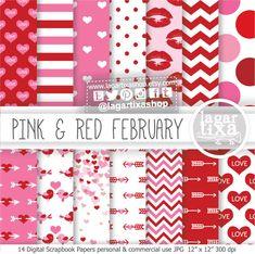 https://www.etsy.com/mx/listing/215927999/papel-digital-fondos-san-valentin-14-de #StValentinesDay #Discounts #sales #kisses #hearts #redandpink #arrows #patterns #love #pink