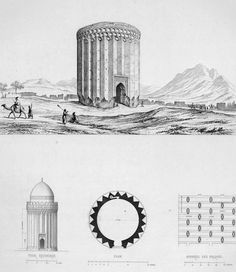 Details of the tower built of brick, Ruins of Rei by Pascal Coste - Tughrul Tower - Wikipedia Brick Architecture, Islamic Architecture, Historical Architecture, Architecture Details, Architecture Portfolio, Pascal Coste, Teheran, Tower Building, Ancient Mysteries