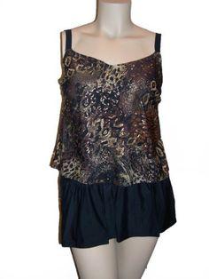 Womens Delta Burke 2 pc Tankini Skirtini Swim Skirt Swimsuit Swimwear Set, Black/Brown/Gold 16W-22W (18W, Brown/Gold/Black) Delta Burke. $59.99