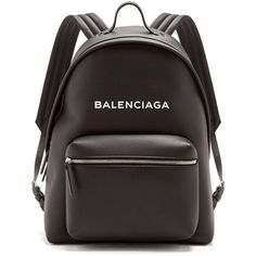 Balenciaga Everyday logo-print leather backpack (€1.290) ❤ liked on Polyvore featuring bags, backpacks, black white, leather daypack, real leather backpack, white and black backpacks, black and white backpack and leather backpacks