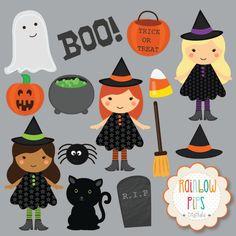 Halloween Witch Digital Clipart Set