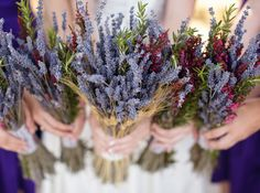 Love the use of- is that Rosemary?  I can just imagine how delicious and fragrant these bouquets would be...