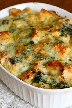 Spinach and Cheese Strata -  It is incredibly convenient in that all the prep work is done the night before, and in the morning all you have to do is bake and serve.