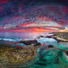 Port Fairy Drone Panoramic Sunset